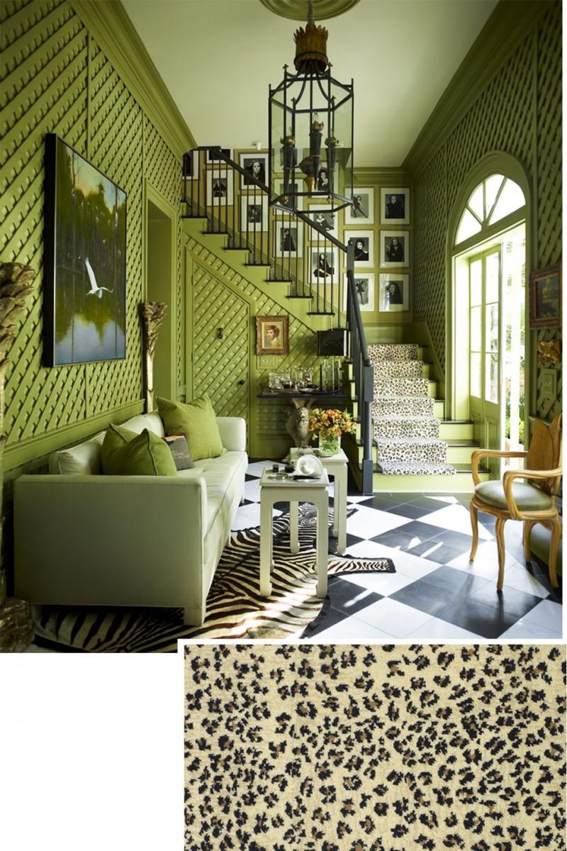 green living room zebra print area rug Somalia panther print stair runner light green sofa