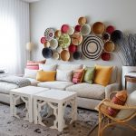 Modern Moroccan Living Room Idea White Moroccan Coffee Table Modern White Sofa With Chaise Colorful Throw Pillows Colorful Wall Decors Rattan Chair White Curtains