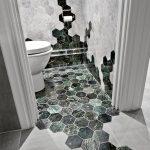 Modern Bathroom Design Whitewashed Hexagon Tiles Wall Green Marble Tiled Floors In Hexagon Shape Large Matte Tiled Floors