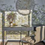 Modern Home Office With Spring Theme Jewel Toned & Floral Patterned Wallpaper Decorative Wall Art Gray Working Desk Beige Leather Working Chair Light Wood Floors Floral Ornament On Vase