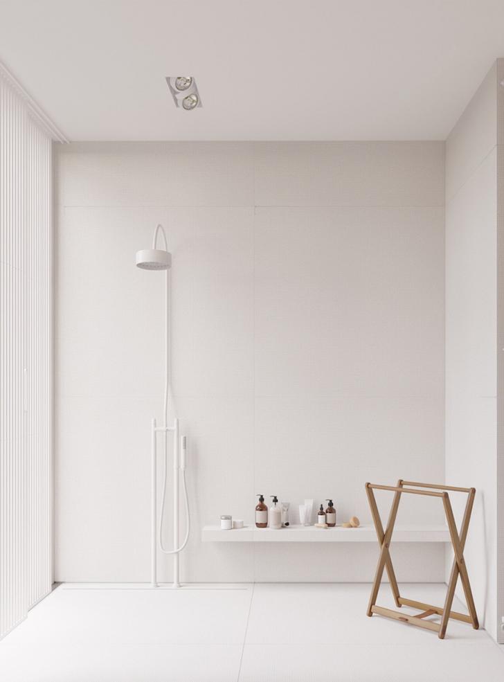 plain bathroom idea walk in shower white shower appliance white floating shelf decorative wood frames in light tone