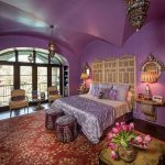 Purple Moroccan Bedroom Idea Red Moroccan Carpet With Motifs Two Chairs With Purple Throw Pillows Gloss Purple Comforter Purple Pillowcases Wood Handcrafting Moroccan Pendants