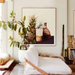 Relaxing Nook With Tropical Themed Painting Wood Chair With Cozy Futon