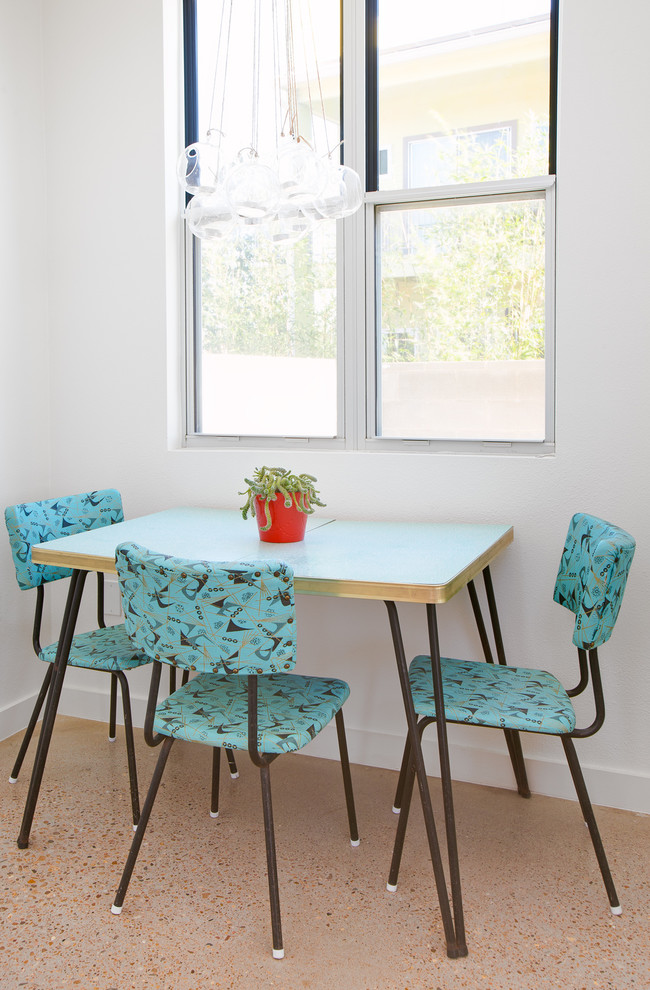 shabby chic breakfast nook light blue top dining table metal dining chairs with blue back rest