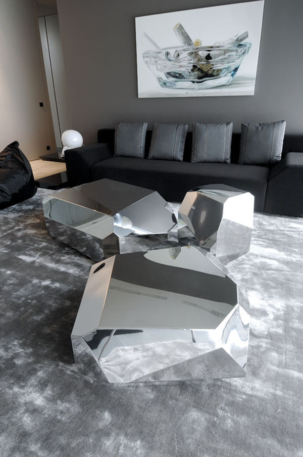 ultramodern living room gray interior black sofa with gray throw pillows black bean bag gray carpeting idea mirrored chrome furnishing sets