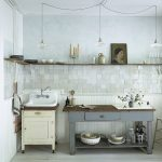 Vintage Rustic Kitchen Idea Light Square Tiles Wall Light Concrete Wall Farmhouse Sink In White With Under Cabinet Preparing Table With Wood Top Single Wood Shelf