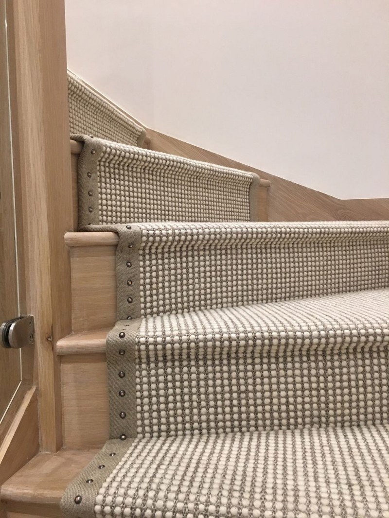 wood stair with Cadena carpet in dove