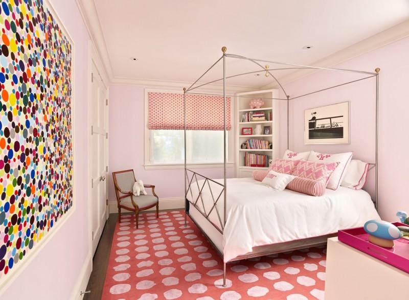 contemporary kid's room baby pink wall classic metal bed polka dot area rug polka dot wall decor