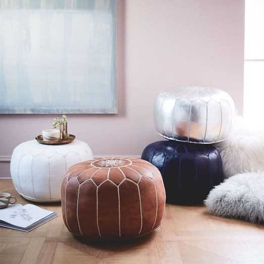 goat leather Moroccan poufs in different colors