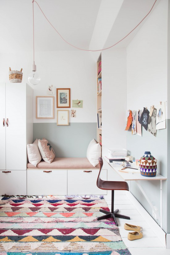 kids' room recessed book shelves mini study nook with floating desk tiny chair multicolored area rug white closet with under storage and integrated bench