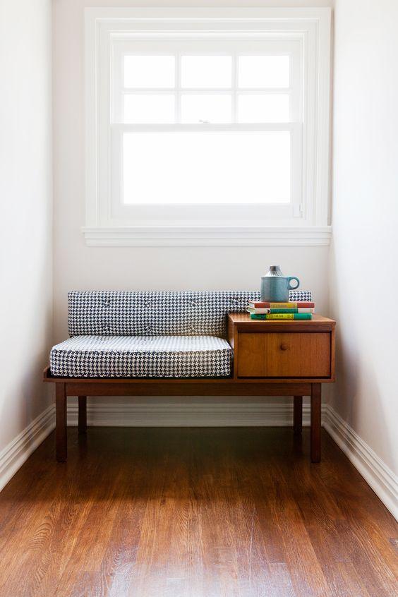 mid century bench storage solution