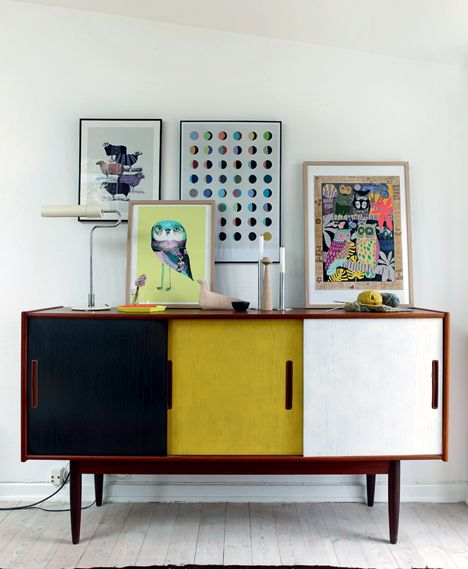 mid century modern buffet with colored surfaces