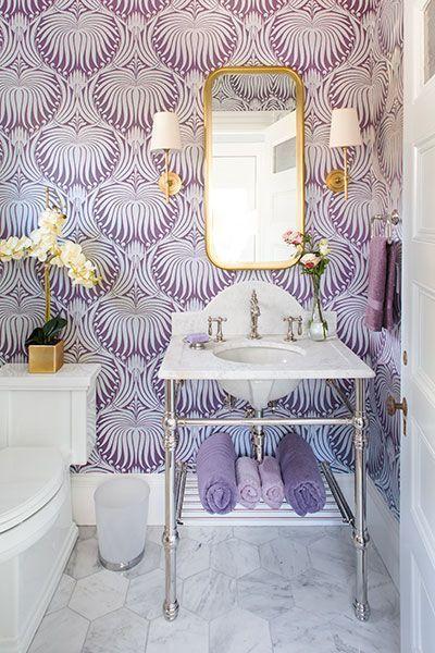 modern bathroom design purple wallpaper tiny bathroom vanity with stainless steel legs and undermount sink brass framed mirror