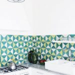 Modern Kitchen Idea Corner White Kitchen Counter White Sink Green White Yellow Tiled Backsplash Pendant With Green Lampshade