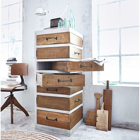 rustic industrial drawer system in vertical shape and with angle rotated single drawer