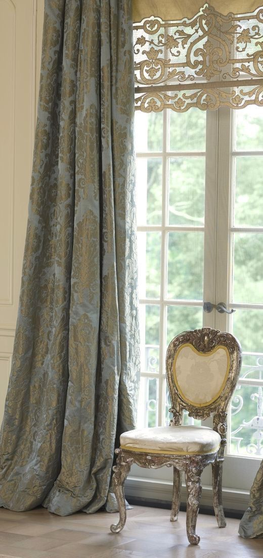 rustic style curtains with golden patterns and dusty blue color background
