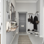 Small Entryway Design Corner Coat Closet On Underside Of Shelves L Shaped Bench For Shoes Grey Runner Carpet Wall Mounted Shelf On Entryway