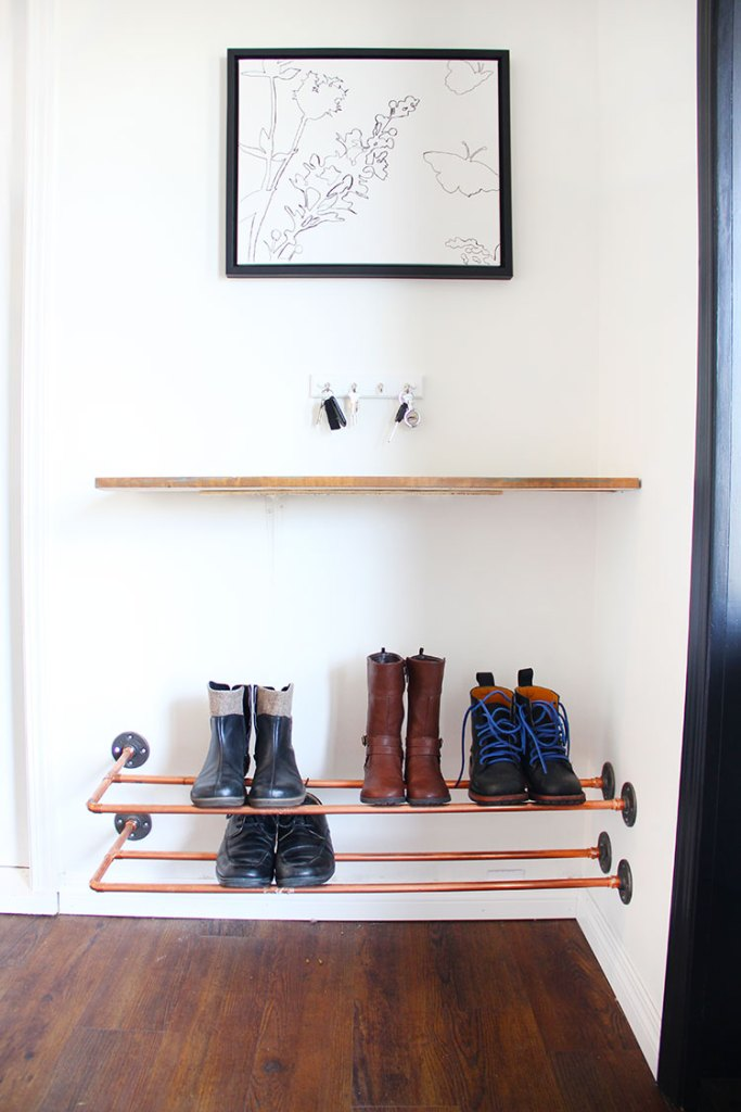 small entryway idea copper pipe shoe rack wood shelf hanging rods for keys simple pic with black frame