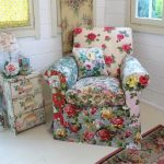 Vintage Armchair With Multicolored Flower Prints Side Drawer System With Multicolored Flower Prints