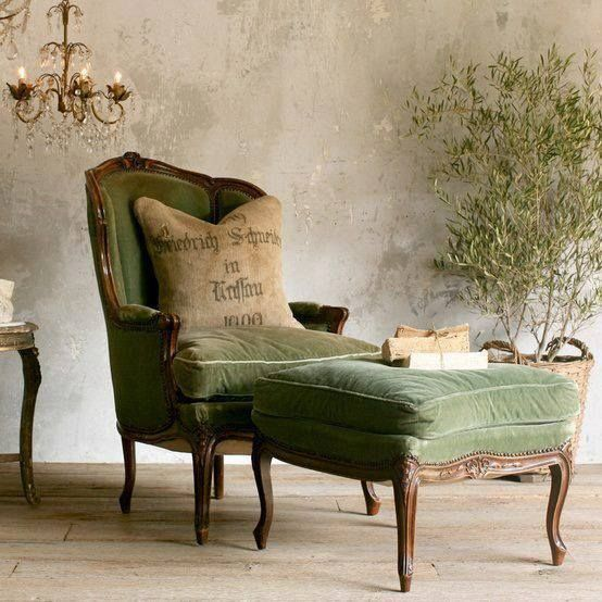 vintage chair and table in green