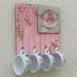 Vintage Cup Holders With Flowery Pink