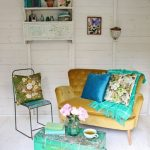 Vintage Living Room With Colorful Furniture Set Wall Mounted Vintage Rack