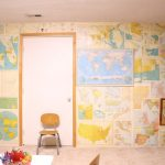 Vintage Map Wall Idea For Playroom Small Chair