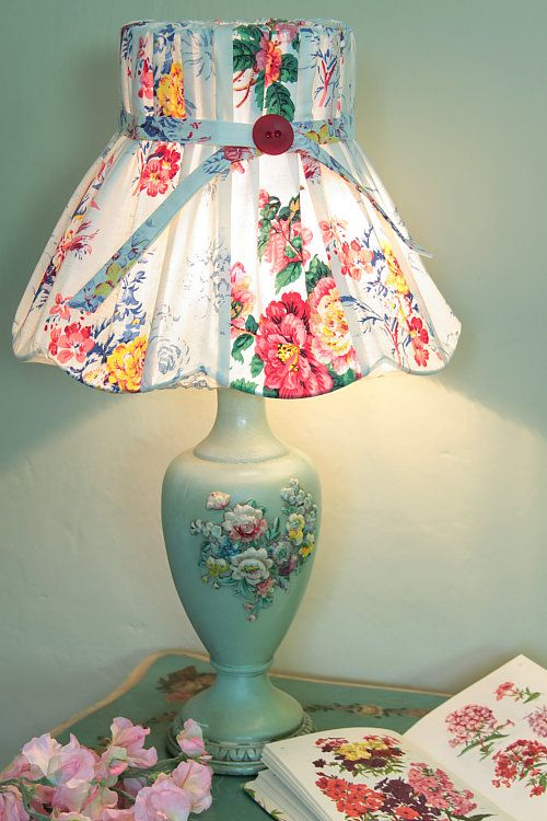 vintage table lamp with flowery lampshade