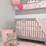 Baby Girl Nursery Room Idea Pink Area Rug Animal Stuff Striped White Gray Wallpaper Gray Baby Crib With Pink Bed Treatment