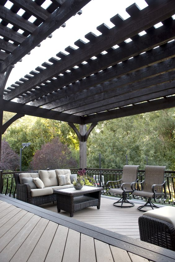 black pergola black wrought iron railing system wicker furniture set