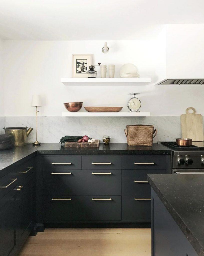 black soapstone kitchen countertop idea matte black kitchen cabinets white open shelves