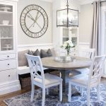 Classic Style Corner Cabinets With Display Section Built In Bench Seat With Throw Pillows Round Top Table White Dining Chairs