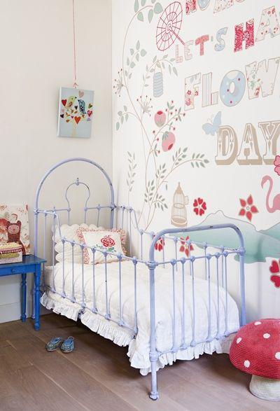 classic touch nursery room idea classic metal baby crib white bedding treatment fun wallpaper wood board floors blue side table