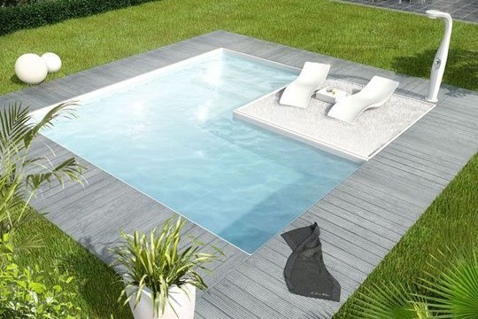 clean line & modern in ground hot tub with integrated seating area white outdoor reclining chairs standing shower head