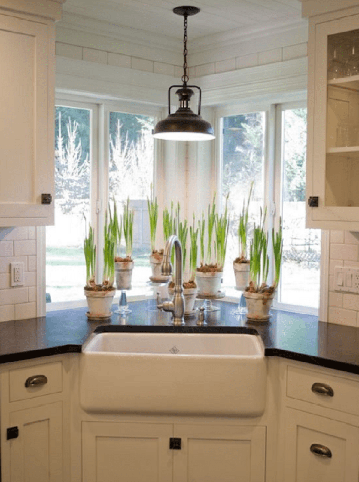 corner farmhouse sink with plantations arround and central pendant