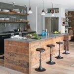 Custom Industrial Kitchen Rustic Kitchen Island With Stainless Steel Worktop Dark Bar Stools Modern Gray Tiles Walls Rustic Open Shelves