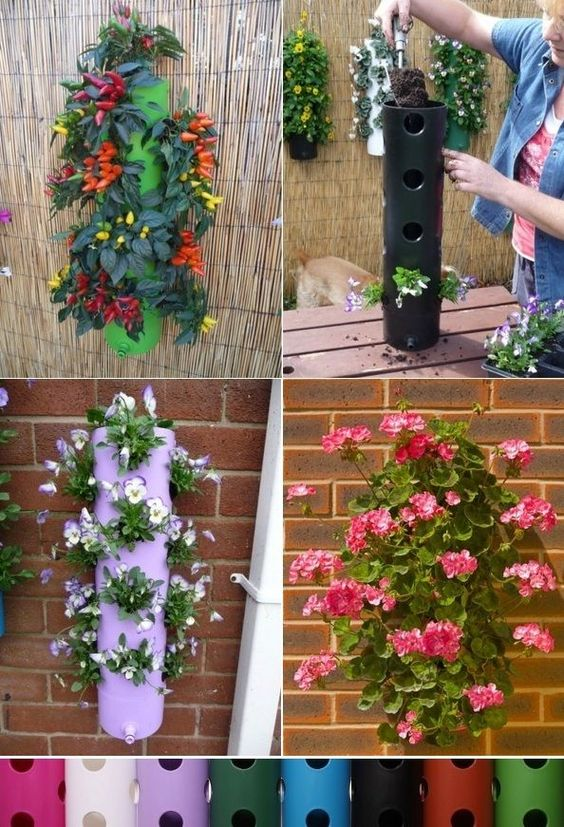 cylinder shaped vertical pots in many options of colors