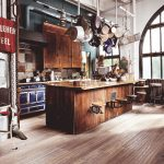 Industrial Style Kitchen Design Hard Textured Wood Kitchen Island Hanging Pans Floating Rustic Cabinets