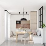 Light And Flat Panek Corner Cabinets Light Wood Dining Table Scandinavian Style Dining Chairs Built In Bench In L Shape Light Colored Throw Pillows Black Pendant