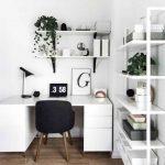 Minimalist Home Office Open Shelves In White White Working Desk With Cabinets Mid Century Modern Working Chair In Black