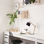 Modern Minimalist Home Office Wall Organizer Supported By Copper Holders Modern White Working Desk Black Finished Wire Chair