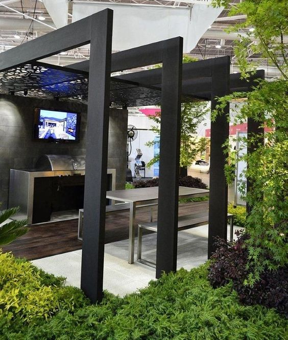 modern minimalist pergola with clean line metal furniture