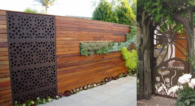 modern wood fence with inserted plantation and metal panel