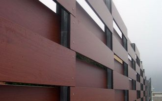 modern wood fences with lot of sections