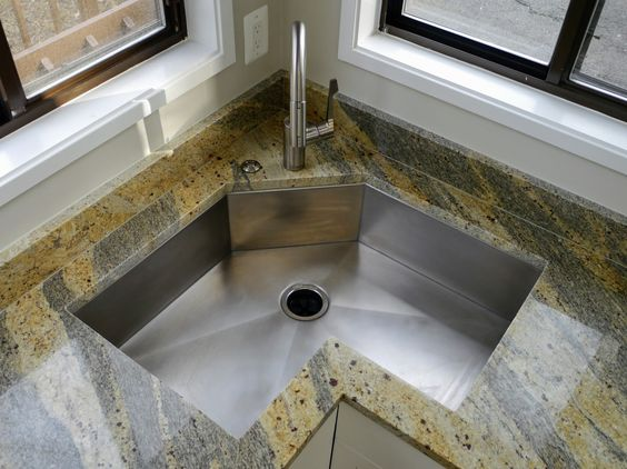 rustic matte corner sink with butterfly shape