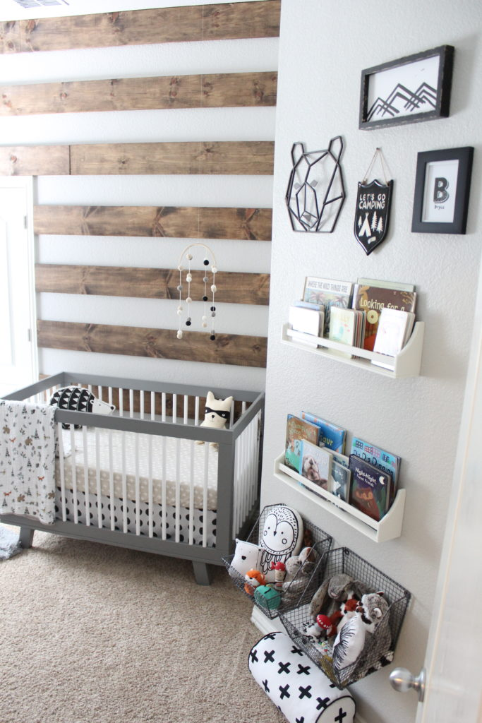 rustic modern nursery room idea wood palette wall gray baby crib wall mounted rack