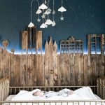 Rustic Nursery Room Idea With Wood Pallet Wall Addition