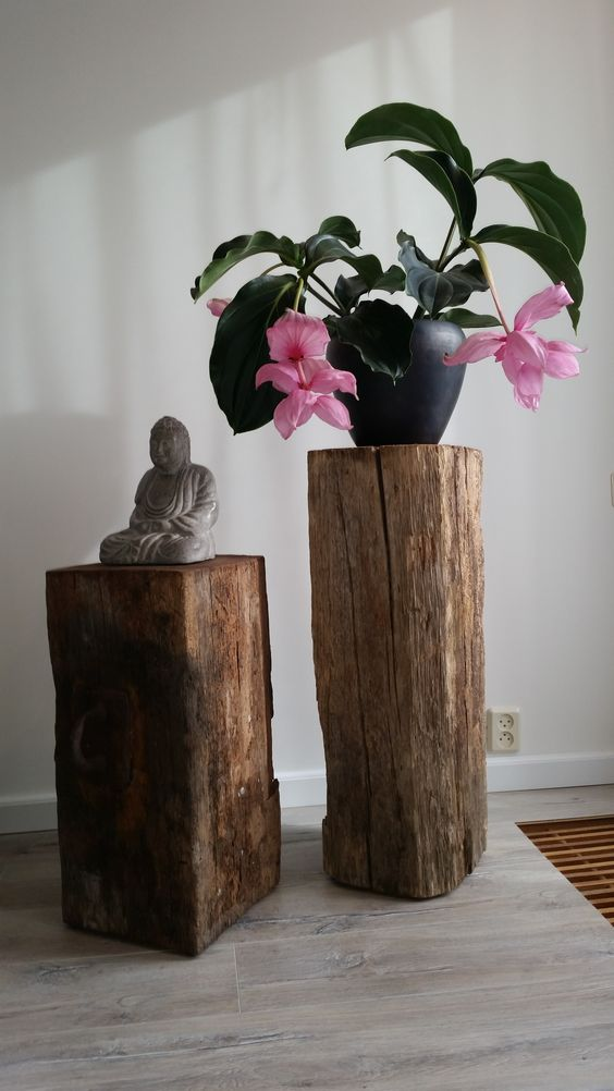 rustic zen interior decor idea log stands Budha mini statue solid black planter