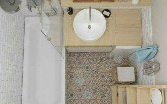 small bathroom design vintage tiles floorings bathroom vanity with light wood countertop & freestanding sink in white white bathtub with half way clear glass panel light wood rack white toilet