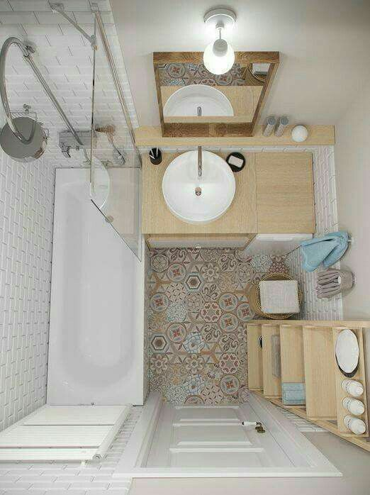 small bathroom design vintage tiles floorings bathroom vanity with light wood countertop & freestanding sink in white white bathtub with half way clear glass panel light wood rack white toilet